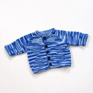 Blue space dye infant button up cardigan
